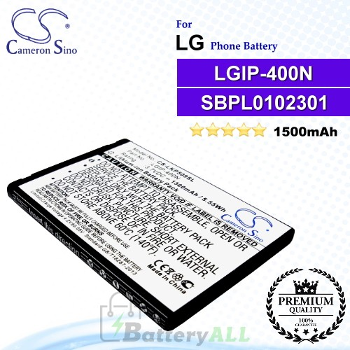 CS-LKP509SLFor LG Phone Battery Model LGIP-400N / LGIP-400V / SBPL0102301 / SBPL0102302