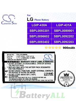 CS-LKU380SL For LG Phone Battery Model LGIP-430A / LGIP-431A / SBPL0083509 / SBPL0089901 / SBPL0092202 / SBPL0092203 / SBPL0093301 / SBPL0093402 / SBPL0096602
