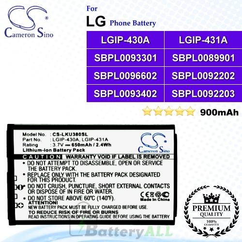 CS-LKU380SL For LG Phone Battery Model LGIP-430A / LGIP-431A / SBPL0083509 / SBPL0089901 / SBPL0092202 / SBPL0092203 / SBPL0093301 / SBPL0093402 / SBPL0096602