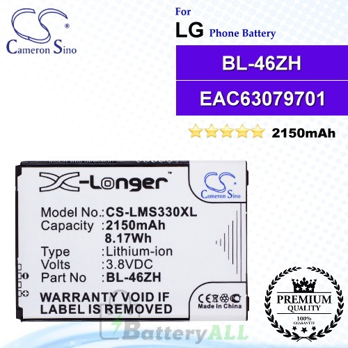 CS-LMS330XL For LG Phone Battery Model BL-46ZH / EAC63079701