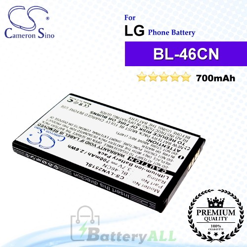 CS-LVN251SL For LG Phone Battery Model BL-46CN / EAC61638202