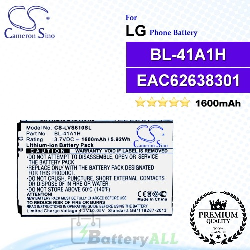 CS-LVS810SL For LG Phone Battery Model BL-41A1H / EAC62638301