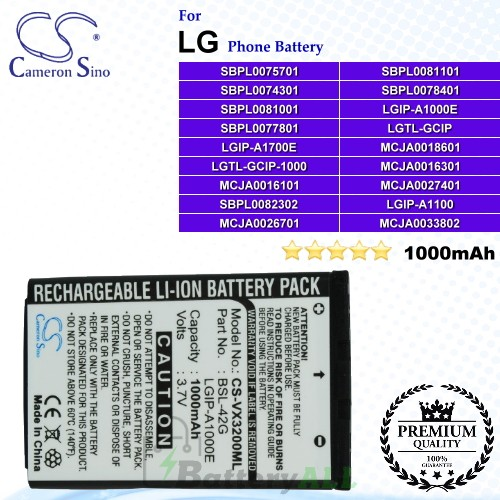 CS-VX3200ML For LG Phone Battery Model LGIP-A1000E / LGIP-A1100 / LGIP-A1700E / LGTL-GCIP / LGTL-GCIP-1000 / MCJA0016101 / MCJA0016301 / MCJA0018601 / MCJA0026701 / MCJA0027401 / MCJA0033802 / SBPL0074301 / SBPL0075701 / SBPL0077801 / SBPL0078401 / SBPL00