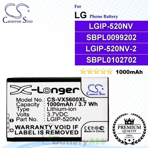 CS-VX5600XL For LG Phone Battery Model LGIP-520NV / SBPL0099202 / LGIP-520NV-2 / SBPL0102702