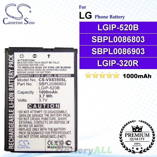 CS-VX8350SL For LG Phone Battery Model LGIP-520B / SBPL0086803 / SBPL0086903 / LGIP-320R