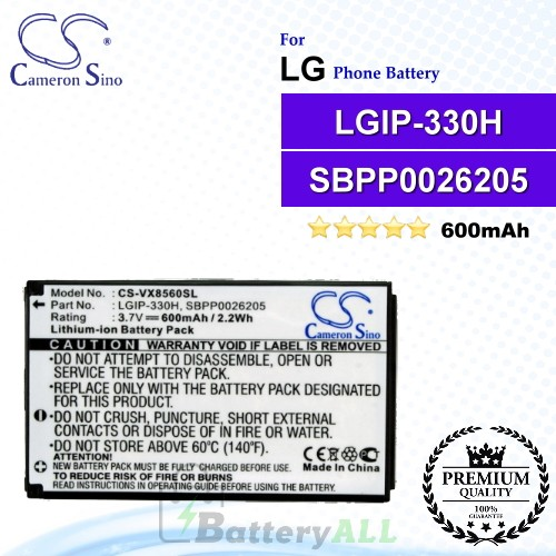 CS-VX8560SL For LG Phone Battery Model LGIP-330H / SBPP0026205