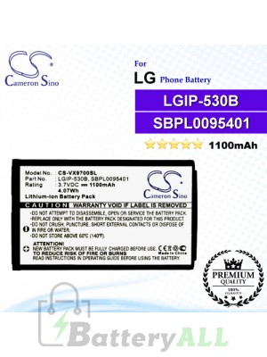 CS-VX9700SL For LG Phone Battery Model LGIP-530B / LGIP-930B / SBPL0095401 / SBPL0095601