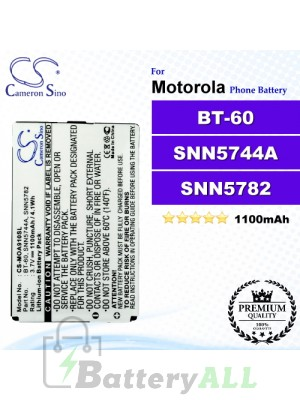 CS-MOA910SL For Motorola Phone Battery Model BT-60 / SNN5744A / SNN5782