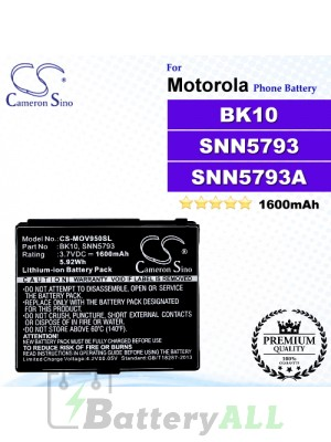 CS-MOV950SL For Motorola Phone Battery Model BK10 / SNN5793 / SNN5793A