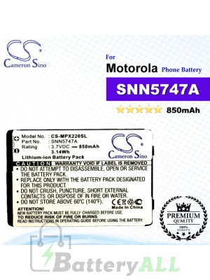 CS-MPX220SL For Motorola Phone Battery Model SNN5747A