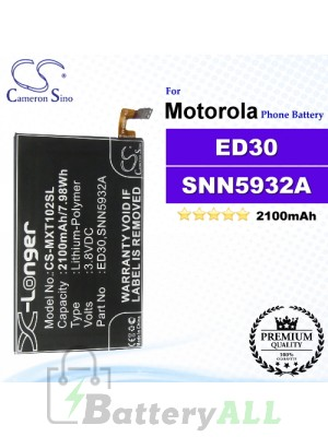 CS-MXT102SL For Motorola Phone Battery Model ED30 / SNN5932A