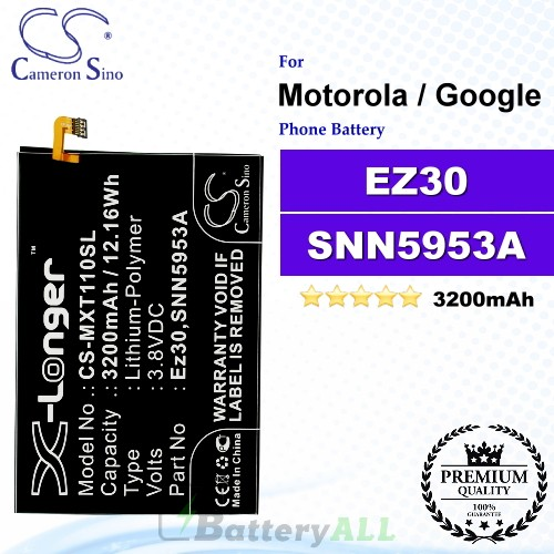 CS-MXT110SL For Motorola / Google Phone Battery Model EZ30 / SNN5953A