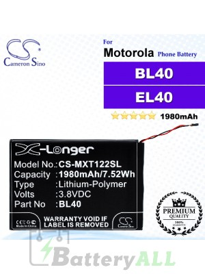 CS-MXT122SL For Motorola Phone Battery Model BL40