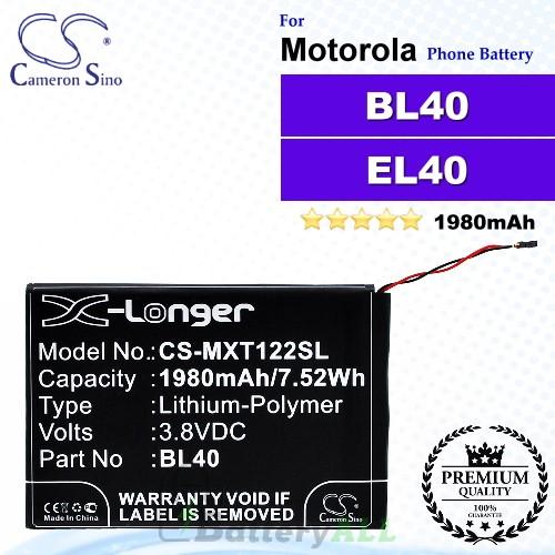 CS-MXT122SL For Motorola Phone Battery Model BL40