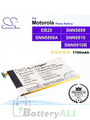 CS-MXT910SL For Motorola Phone Battery Model EB20 / SNN5899 / SNN5899A / SNN5899B