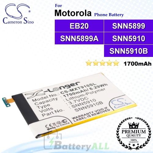 CS-MXT910SL For Motorola Phone Battery Model EB20 / SNN5899 / SNN5899A / SNN5899B