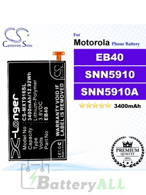 CS-MXT916SL For Motorola Phone Battery Model EB40 / SNN5910 / SNN5910A / SNN5910B