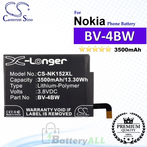CS-NK152XL For Nokia Phone Battery Model BV-4BW