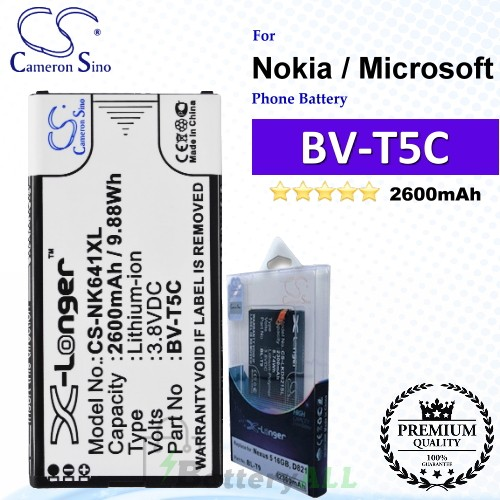 CS-NK641XL For Nokia / Microsoft Phone Battery Model BV-T5C