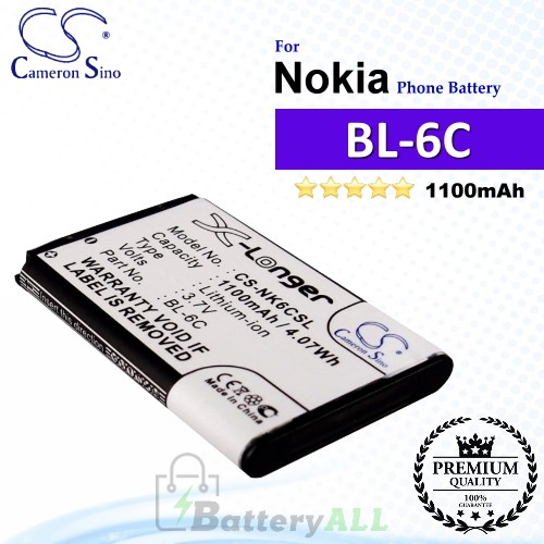 CS-NK6CSL For Nokia Phone Battery Model BL-6C