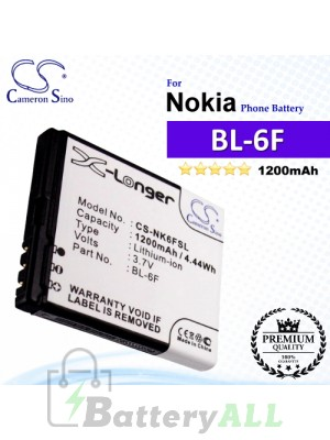 CS-NK6FSL For Nokia Phone Battery Model BL-6F