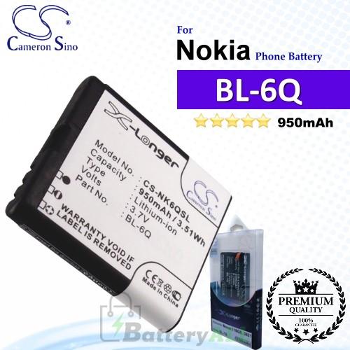 CS-NK6QSL For Nokia Phone Battery Model BL-6Q