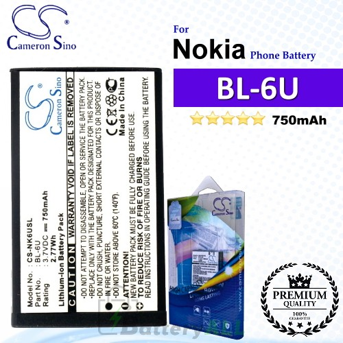 CS-NK6USL For Nokia Phone Battery Model BL-6U