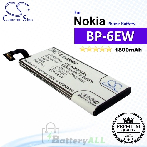 CS-NK900XL For Nokia Phone Battery Model BP-6EW