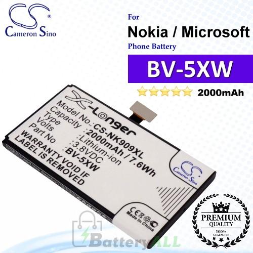 CS-NK909XL For Nokia / Microsoft Phone Battery Model BV-5XW