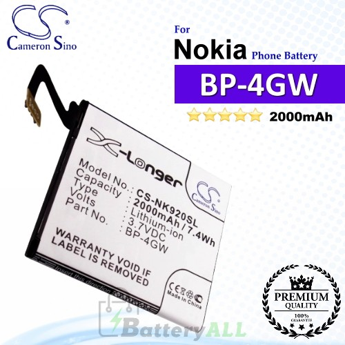 CS-NK920SL For Nokia Phone Battery Model BP-4GW