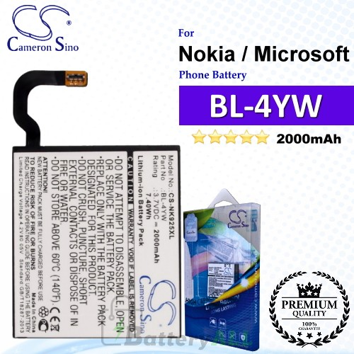 CS-NK925XL For Nokia / Microsoft Phone Battery Model BL-4YW