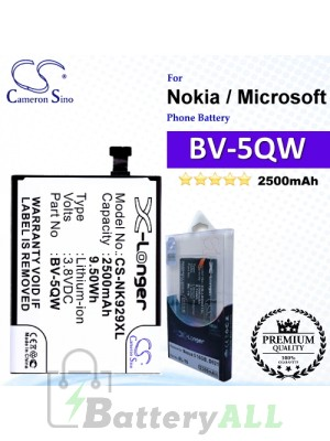 CS-NK929XL For Nokia / Microsoft Phone Battery Model BV-5QW