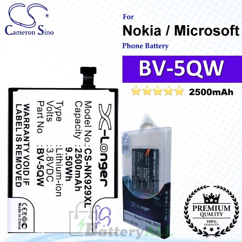 CS-NK929XL For Nokia / Microsoft Phone Battery Model BV-5QW