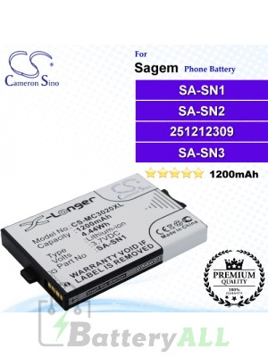 CS-MC3020XL For Sagem Phone Battery Model SA-SN1 / SA-SN2 / 251212309 / SA-SN3