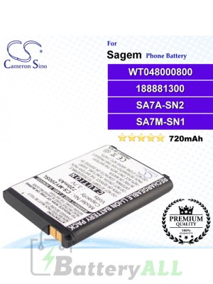 CS-MY200SL For Sagem Phone Battery Model WT048000800 / 188881300 / SA7A-SN2 / SA7M-SN1