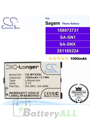 CS-MYX5SL For Sagem Phone Battery Model 188973731 / 251165224 / SA-SNX
