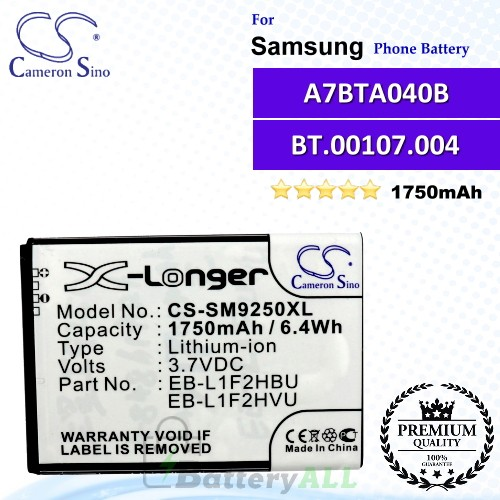 CS-SM9250XL For Samsung Phone Battery Model EB-L1F2HBU / EB-L1F2HVU / EB-L1F2KVK