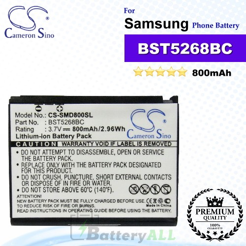 CS-SMD800SL For Samsung Phone Battery Model BST5268BC
