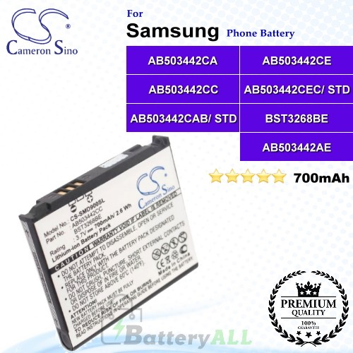 CS-SMD900SL For Samsung Phone Battery Model AB503442CA / AB503442CE / AB503442CC / AB503442CEC/ STD / AB503442CAB/ STD / BST3268BE / AB503442AE