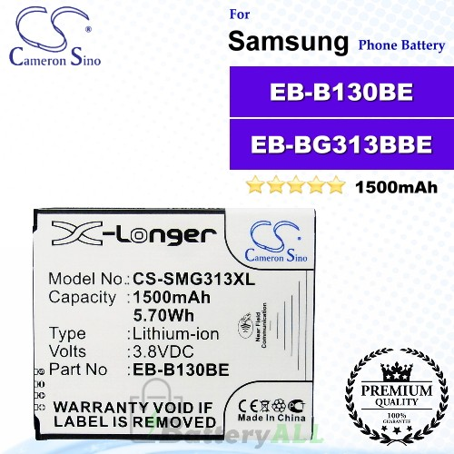 CS-SMG313XL For Samsung Phone Battery Model EB-B130BE / EB-BG313BBE / GH43-04256A