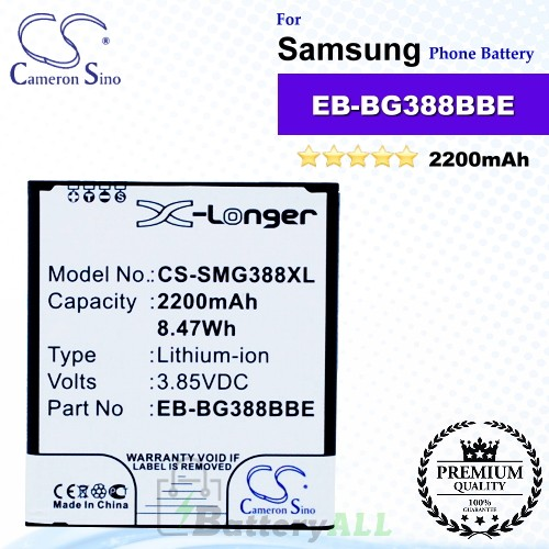 CS-SMG388XL For Samsung Phone Battery Model EB-BG388BBE / EB-BG388BBECWW / GH43-04433A