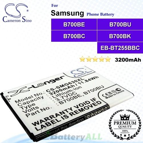 CS-SMG630XL For Samsung Phone Battery Model B700BE / B700BU / B700BC / B700BK / EB-BT255BBC