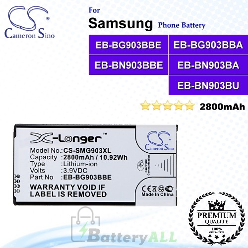 CS-SMG903XL For Samsung Phone Battery Model EB-BG903BBE / EB-BG903BBA / EB-BN903BBE / EB-BN903BA / EB-BN903BU