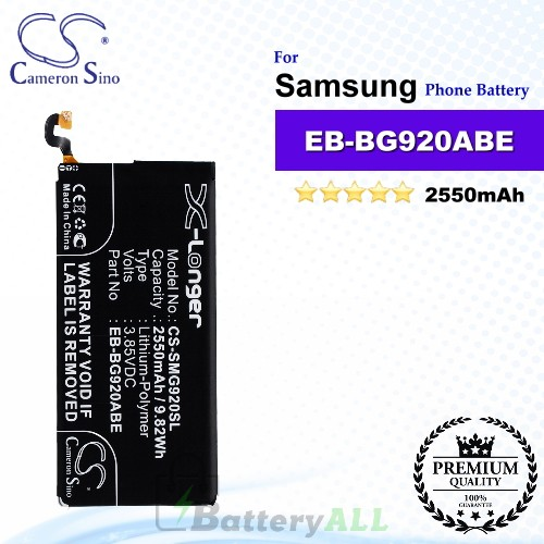 CS-SMG920SL For Samsung Phone Battery Model EB-BG920ABE / GH43-04413A / GH43-04413B