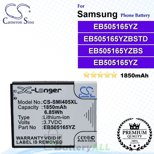 CS-SMI405XL For Samsung Phone Battery Model EB505165YZ / EB505165YZBS / EB505165YZBSTD