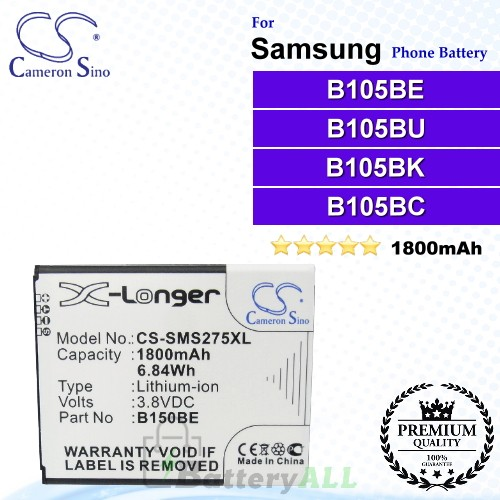 CS-SMS275XL For Samsung Phone Battery Model B105BE / B105BU / B105BK / B105BC