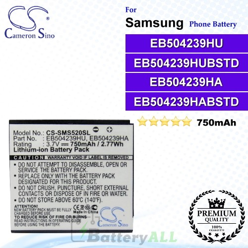 CS-SMS520SL For Samsung Phone Battery Model EB504239HU / EB504239HUBSTD / EB504239HA / EB504239HABSTD