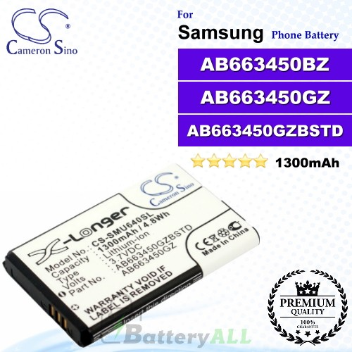 CS-SMU640SL For Samsung Phone Battery Model AB663450GZ / AB663450GZBSTD / AB663450BZ