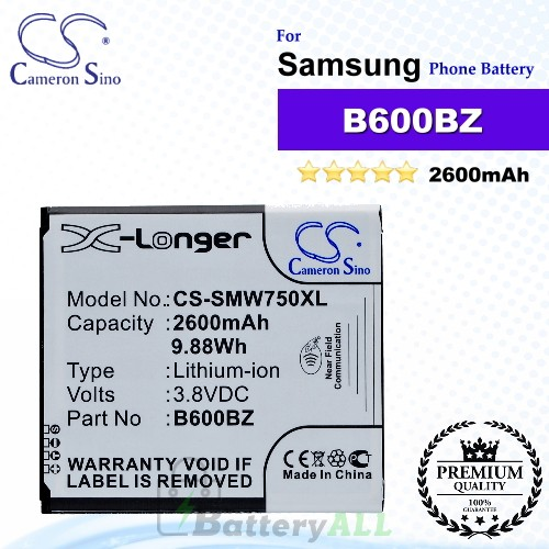CS-SMW750XL For Samsung Phone Battery Model B600BZ