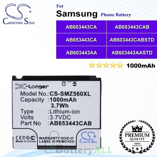 CS-SMZ560XL For Samsung Phone Battery Model AB603443AA / AB603443AASTD / AB603443CA / AB603443CABSTD / AB653443CAB / AB653443CE